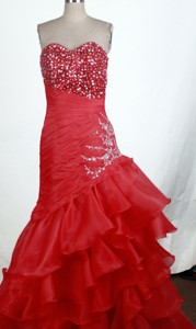 Exquisite Sweetheart Floor-length Red Prom Dress