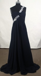 Affordable Empire One Shoulder Brush Black Prom Dress