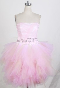 Sweet Short Strapless Mini-length Light Pink Prom Dress