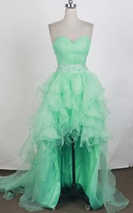 Elegant Sweetheart Knee-length High-low Turquoise Prom Dress