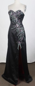 Brand New Empire Sweetheart Floor-length Black Prom Dress