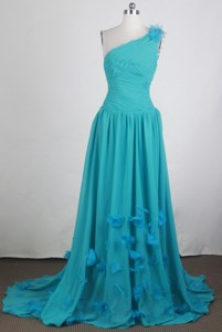 Perfect Empire One Shoulder Brush Teal Prom Dress