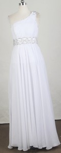 Exclusive Empire One Shoulder Floor-length White Prom Dress