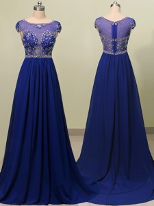 See Through Scoop Cap Sleeves Beading Prom Dress in Royal Blue