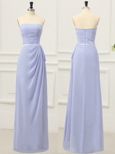 Simple Strapless Empire Lilac Prom Dress with Belt for Spring