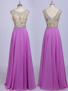 See Through Scoop Beading Chiffon Prom Dress in Lavender