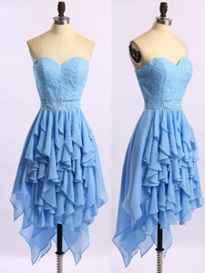 Lovely Beaded Bodice and Ruffled Short Prom Dress in Baby Blue
