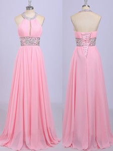 Gorgeous Halter Top Beading Prom Dress in Rose Pink