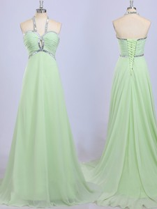 Luxurious Halter Top Brush Train Beading Prom Dress in Apple Green