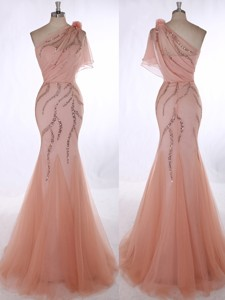 Romantic One Shoulder Orange Red Prom Dress With Beading