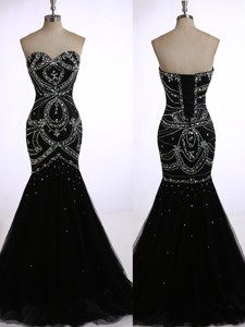 Top Selling Mermaid Black Prom Dress with Beading for Winter