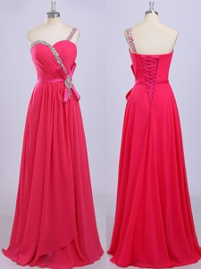Modest One Shoulder Coral Red Prom Dress with Beading and Belt