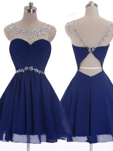 See Through Scoop Beading Short Prom Dress in Navy Blue