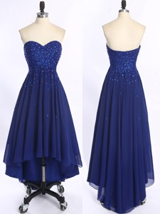 Perfect High Low Royal Blue Prom Dress with Beading