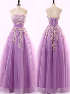 Lovely A Line Appliques Tulle Prom Dress in Lavender