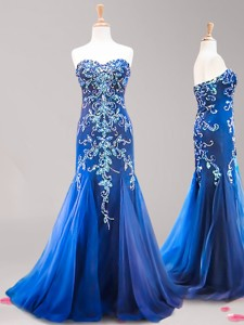 Inexpensive Brush Train Royal Blue Prom Dress with Beading and Appliques