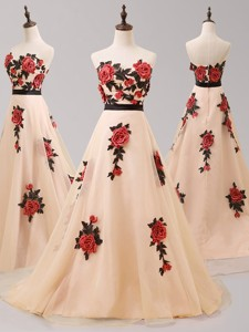 Beautiful Hand Made Flowers and Belted Prom Dress with Brush Train