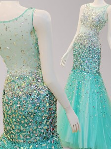 See Through Scoop Mermaid Tulle Prom Dress with Beading