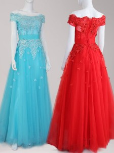 Perfect Off the Shoulder Cap Sleeves Tulle Prom Dress with Beading and Appliques