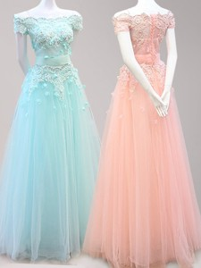 Lovely Off the Shoulder Beaded and Applique Prom Dress in Tulle