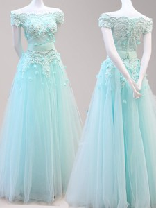 Fashionable Off the Shoulder Cap Sleeves Prom Dress with Beading and Appliques