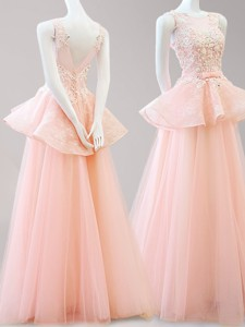 Latest Scoop Backless Peach Prom Dress with Belt and Appliques
