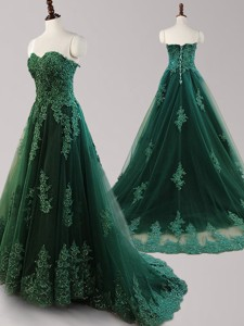 Cheap Applique and Beaded Brush Train Prom Dress in Dark Green