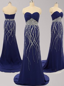 Best Selling Royal Blue Brush Train Chiffon Prom Dress with Beading