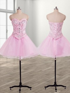 Fashionable Organza Baby Pink Short Prom Dress with Beading