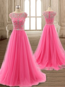 See Through Scoop Cap Sleeves Beading Prom Gown in Hot Pink