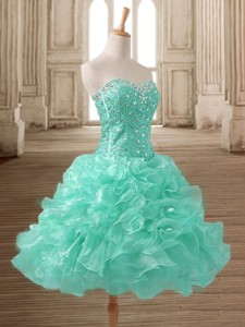 Latest Beaded and Ruffled Short Prom Dress in Apple Green