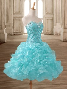 Gorgeous Baby Blue Short Prom Dress with Beading and Ruffles