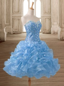 Lovely Organza Beading and Ruffles Prom Dress in Mini Length