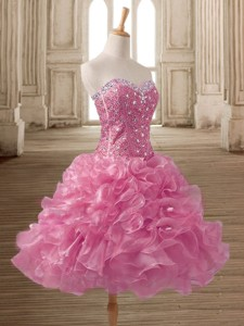 Wonderful Pink Organza Prom Dress with Beading and Ruffles