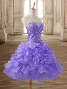 Most Popular Beaded and Ruffled Short Prom Dress in Lilac