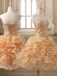 Inexpensive Organza Beading and Ruffles Short Prom Dress in Champagne
