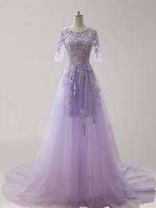 Gorgeous Scoop Half Sleeves Lavender Prom Dress with Appliques