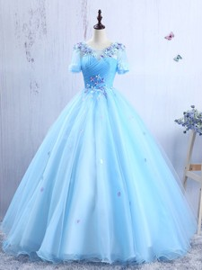 Latest Short Sleeves Scoop Prom Gown with Appliques and Ruching