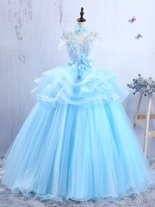 Discount V Neck Applique and Ruffled Prom Gown in Light Blue