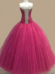 Elegant Beaded Sweetheart Fuchsia Prom Gown in Tulle