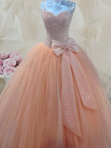 Cheap Spaghetti Straps Beaded and Bowknot Prom Gown in Peach