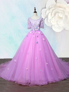 Lovely Scoop Applique Lilac Prom Gown with Court Train