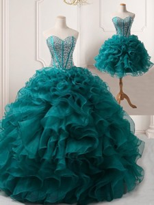 Pretty Puffy Skirt Teal Detachable Prom Gown with Beading and Ruffles