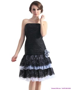 Black Short Prom Dress With Ruching And Hand Made Flower