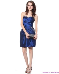 Navy Blue Sweetheart Dama Dress With Ruching And Beading