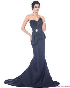 Exclusive Brush Train Sweetheart Beading Prom Dress in Navy Blue