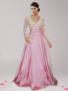 Sexy Deep V Neckline Long Sleeves Prom Dress with Beading and Belt
