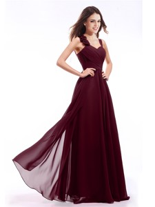 Hot Sale Straps Hand Made Flowers Prom Dress in Burgundy