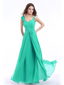 Perfect Straps Hand Made Flowers Prom Dress in Turquoise