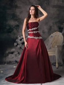 Sweet Burgundy Strapless Prom / Evening Dress Appliques Brush Train